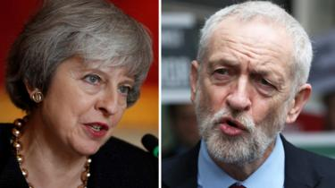 Theresa May and Labour leader Jeremy Corbyn
