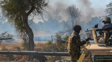 A handout picture released by the Nigerian Army shows an insurgents' camp being destroyed by Nigerian military in the Sambisa forest (archive pic)