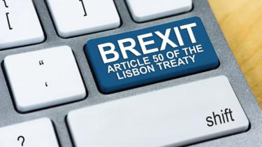 A keyboard with a Brexit Article 50 button