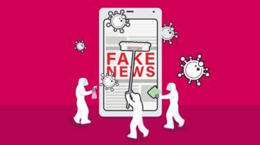 sahte haber 'fake news' yazan bir ilüstrasyon