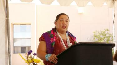 Navajo politician Amber Crotty in a speaking engagement