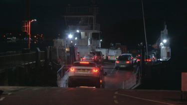 The Strangford Ferry is already very busy during the morning rush hour