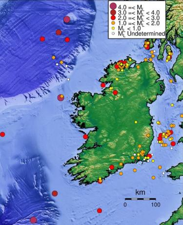 Map showing seismic activity in Ireland over the past 40 years