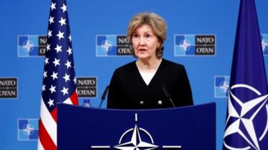 US ambassador to Nato Kay Bailey Hutchison briefs the media ahead of a Nato defence ministers in Brussels. Photo: 2 October 2018