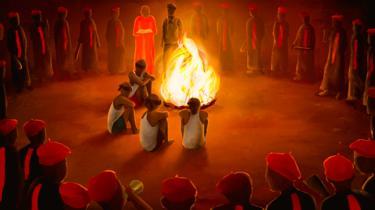 Illustration of cult initiation ceremony