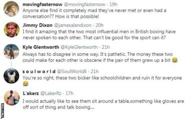 """Fans on Twitter are shocked that promoters Eddie Hearn and Frank Warren have never met. One fan says it """"can't be good for the sport"""""""