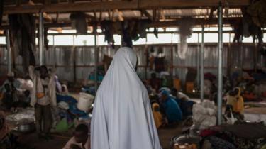 A women in a camp for internally displaced persons in Nigeria