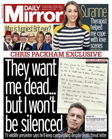 Daily Mirror front page - 01/05/19