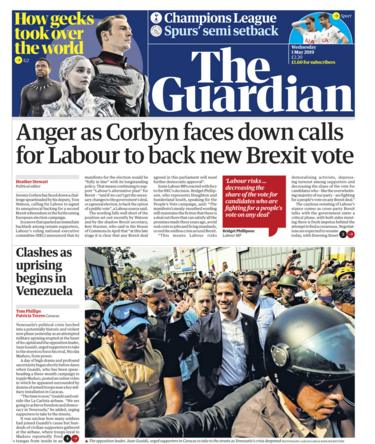 Guardian front page - 01/05/19