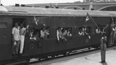 Tren dejando Delhi en 1947