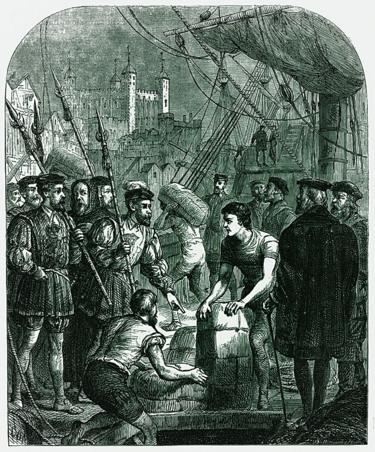 Grabado que muestra c�mo las copias de la Biblia vern�cula de Tyndale llegaba a Inglaterra escondida en fardos de diversos bienes.