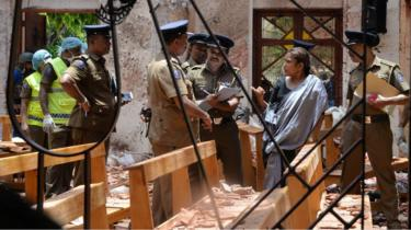 St Sebastian's church in Negombo was severely damaged