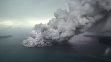 Gunung Api Anak Krakatau. Foto 23 Desember 2018.