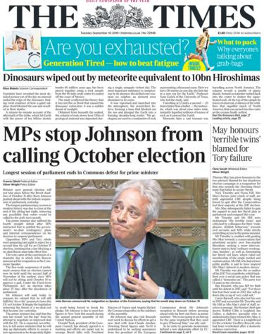 The Times front page 10 September 2019