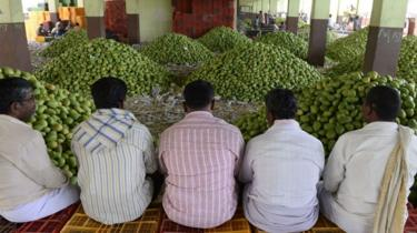 Representational photo: Indian farmers wait for mangoes to be auctioned at the Gaddiannaram fruit market on the outskirts of Hyderabad on April 30, 2018.