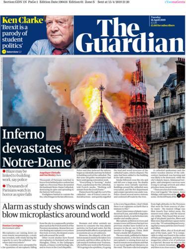 Guardian front page 16 April 2019