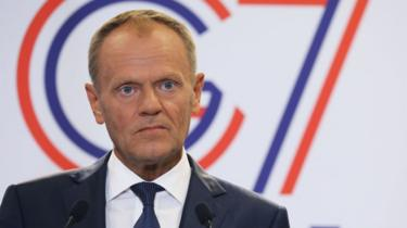 Donald Tusk speaking at the G7 summit in Biarritz, France