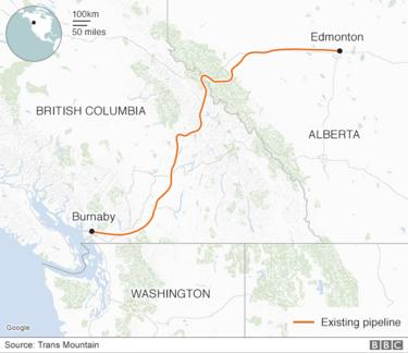 A map of the Trans Mountain pipeline route