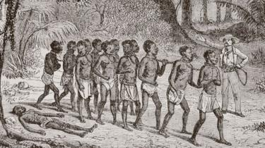 A Group Of Captured Africans Being Led Away By A White Slaver. From L'univers Illustre Published In Paris In 1868.