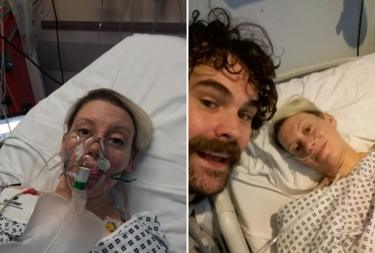 Rebecca Shorrocks and Paul F Taylor in hospital