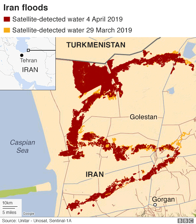 A map showing the extent of the floods on March 29 and 4 April