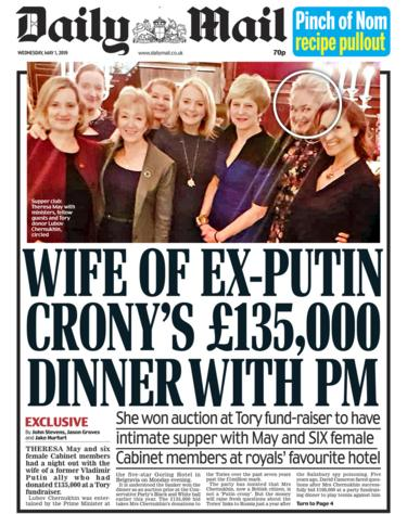 Daily Mail front page - 01/05/19