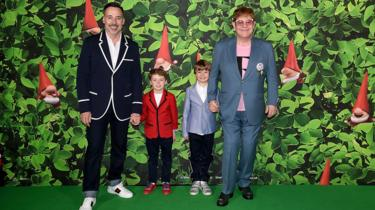 David Furnish and Sir Elton John with their sons Elijah and Zachary
