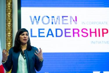 """كونينغهام تتحدث خلال مبادرة """" قيادة النساء """" في الشركات في بورصة نيويورك في 31 يناير/كانون الثاني 2018"""