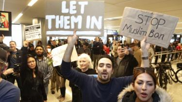 Protests have continued at US airports throughout the week