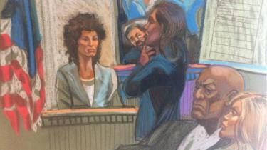 Court sketch of Andrea Constand (L) testifying feet away from Bill Cosby (second R)