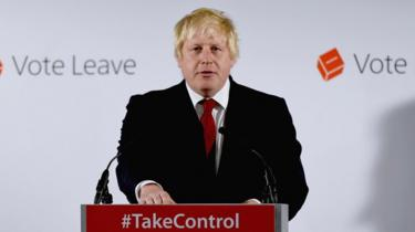Boris Johnson speaking after the UK voted to leave the EU