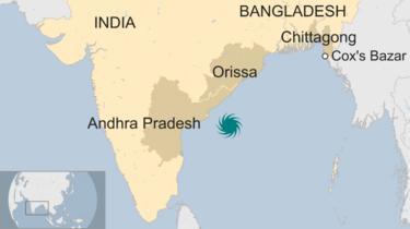 Map of Cyclone Fani