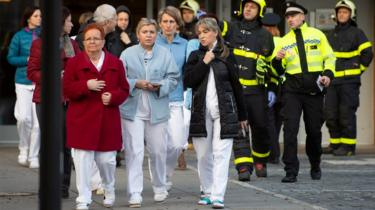 Patients and staff are evacuated from a hospital after a shooting incident, in Ostrava, Czech Republic, 10 December 2019