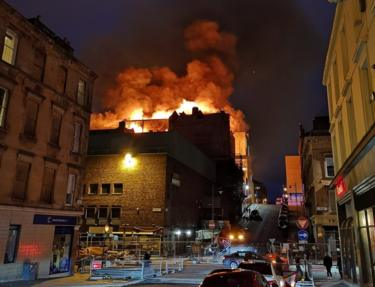 A photo of the fire