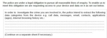 A screenshot of part of a consent form for 'digital device extraction', provided by the National Police Chiefs Council