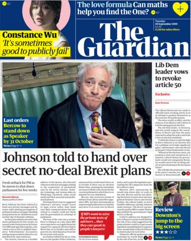 Guardian front page 10 September 2019