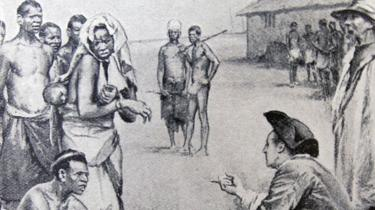 Engraving depicting slaves being sold for cowries in Africa