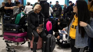 Passengers at Gatwick during drone disruption