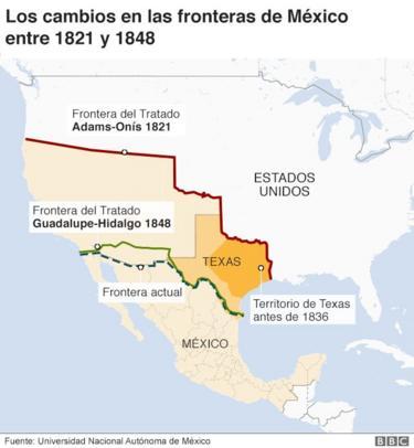 Mapa que muestra las diferentes fronteras que dividieron a México y EE.UU. durante el siglo XIX.
