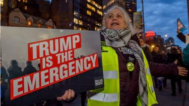 Activist group Rise And Resist in New York City put out a call for a demonstration at the Trump Hotel in Columbus Circle