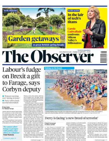 Observer front page 21/04/19