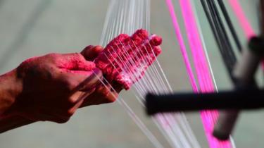 Indian kite string being made