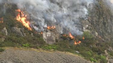 Fire on Garreg Ddu above Blaenau Ffestiniog