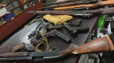 A pile of guns handed in to authorities during Australia's gun amnesty in 2017