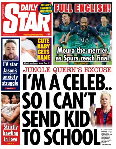 Daily Star front page 09/05/19