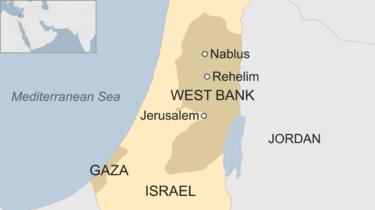 Map of Israel and West Bank showing locations of Rehelim and Nablus