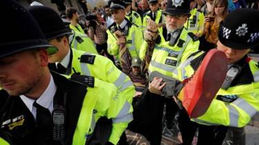 Protester arrested on Waterloo Bridge