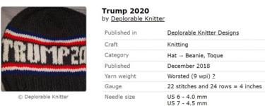 A pro Donald Trump knitting pattern which has now been taken down from the site