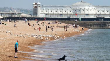 A man walks his dog along the beach on May 09, 2020 in Brighton, England. The UK is continuing with quarantine measures intended to curb the spread of Covid-19, but as the infection rate is falling government officials are discussing the terms under which it would ease the lockdown.