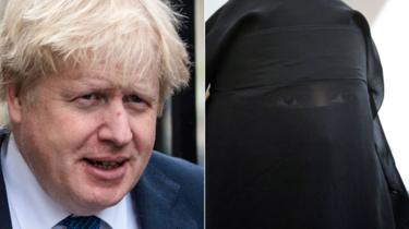 Boris Johnson and woman in burka